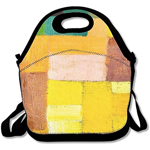 Abstract Texture Background Of An Original Oil Geometric Painting Close Up Fragment On Canvas With Latest Lunch Tote Lunch Bag Outdoor Picnic ()