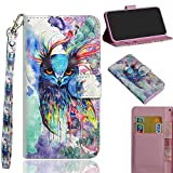 XYX Wallet Phone Case for OnePlus 6,[Wrist Strap][Kickstand] Premium PU Leather Wallet Case with Credit Card Pockets for OnePlus 6 - Colorful Owl