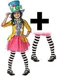 Mad Hatter Girls Fancy Dress World Book Day Wonderland Childrens Disney Costume & Tights (11 -12 Years)