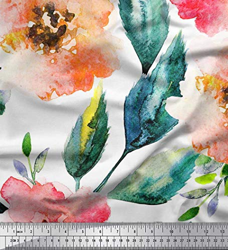 (Soimoi White Viscose Chiffon Fabric Flower & Leaves Watercolor Fabric Prints by Yard 42 Inch Wide )