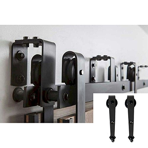 HomeDeco Hardware New Style 8 FT By pass National Sliding Barn Door Hardware Black Steel Pulls Track by HomeDeco Hardware