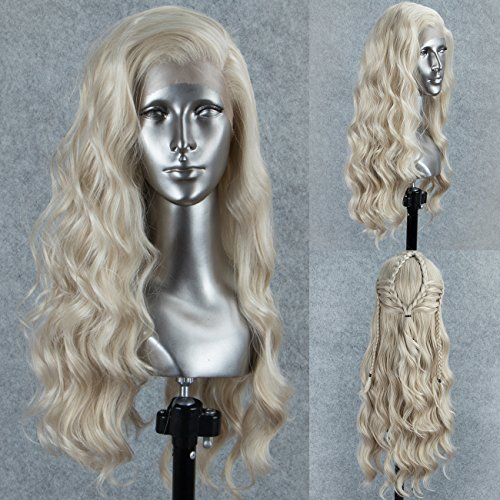 Persephone Glueless Platinum Blonde Lace Front Wig Wavy Fashion Long Light Blonde Synthetic Wigs for Women Half Hand Tied Repalcement Hair Wig 22 Inches ()