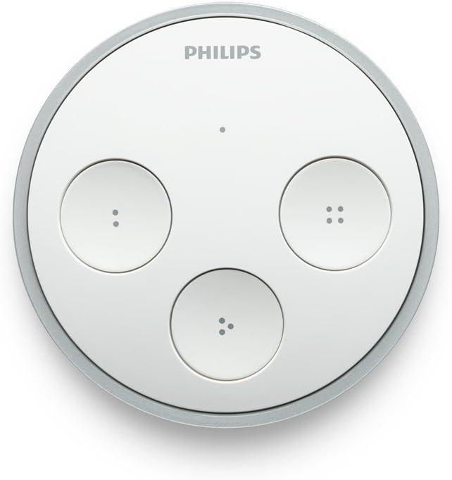 incluye 4 botones configurables y placa adhesiva para colocar en pared Philips Hue Interruptor inal/ámbrico con seleccionador de escenas