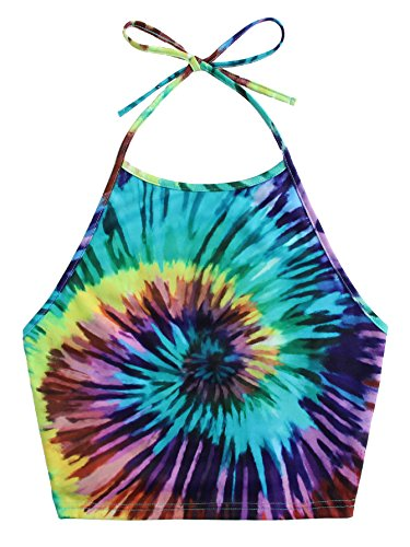 Romwe Women's Sexy Spiral Tie Dye Multicolor Print Backless Tie Halter Top Green S - Green Halter Top Shirt