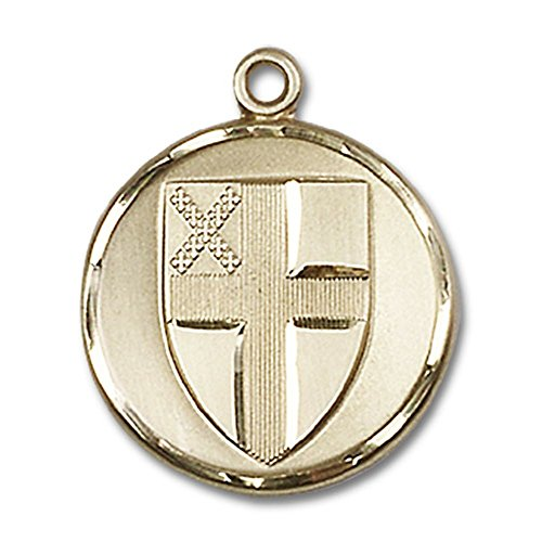14kt Yellow Gold Episcopal Medal 7/8 x 3/4 inches by Bonyak Jewelry Saint Medal Collection