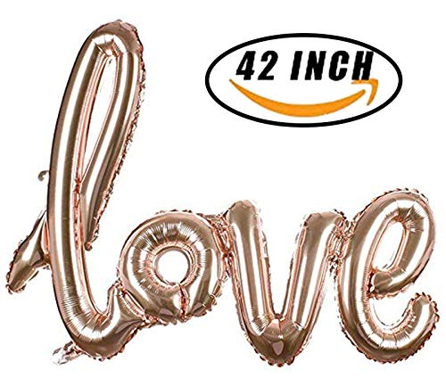 (Large Rose Gold Love Foil Balloons Banner,42 Inch Mylar Foil Letters Balloons Reusable Ecofriendly Material for Wedding Bridal Shower Anniversary Engagement Party Decorations Supplies)