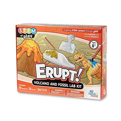 hand2mind ERUPT! Volcano & Fossil Science Kit for Kids (Ages 8+) - 15 STEM Career Experiments and Activities | Learn About Dinosaurs, Fossils, and more | Educational Toys | STEM Authenticated