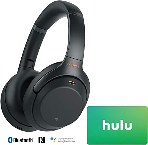 Sony WH1000XM3 Premium Noise Cancelling Wireless Bluetooth Headphones with Built in Microphone WH-1000XM3 B Black 25 Hulu Plus Gift Card Bundle