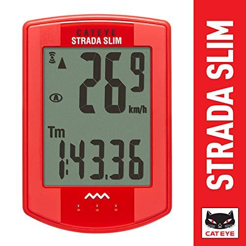 CAT EYE - Strada Slim Wireless Bike Computer, Red - Cycling Computer Battery