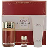 cartier baiser vole 3.4oz eau de parfume spray + 0.2oz eau de parfum miniature + body cream