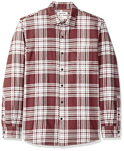Chemise Long Standard sleeve Rouge fit Plaid burgundy Flannel Goodthreads Bur Homme Casual Brushed AqYUF1dW