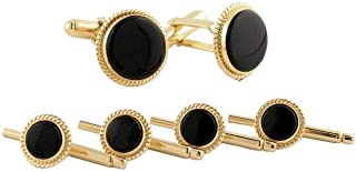 product image for David Donahue Men's Gold Plated Sterling Silver Onyx Cuff Links Stud Set (SS806313)