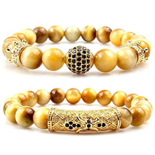 GVUSMIL Luxury Natural Gemstone 8mm Gold Tiger Eye Beads Bracelets Set Charm Healing Jewelry for Men Women