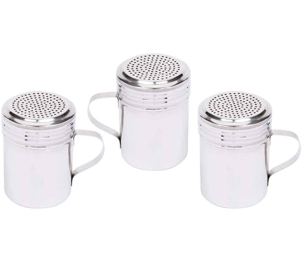 (Set of 3) 10-Ounce Stainless Steel Dredge Shaker with Handle by Tezzorio, Commercial Grade Spice Dredge Shaker for Restaurants