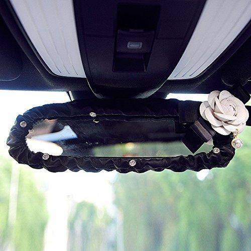 INEBIZ Car Charm Beautiful Camellia Interior Rearview Mirror Elastic Leather Decorative Cover with Shiny Rhinestones, Automotive Interior Trim -
