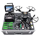 Drone with HD Camera, Potensic F183DH Drone RC Quadcopter RTF Altitude Hold UFO with Newest Hover Function,2MP Camera& 5.8Ghz FPV LCD Screen Monitor & Drone Carrying Case-(Green)