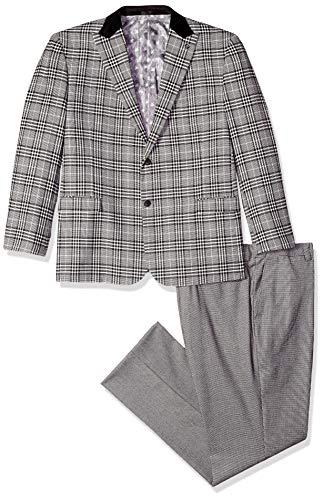 STACY ADAMS Men's Big and Tall 3-Piece Peak Lapel Plaid Vested Suit, Black, 56 Regular