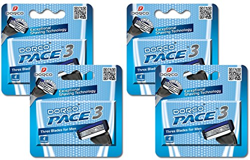 [Dorco Pace 3- Three Razor Blade Shaving System- Value Pack – 16 Cartridges (No Handle)] (Three Blade)