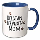 3dRose InspirationzStore Pet designs - Belgian Tervuren Dog Mom - doggie by breed - brown muddy paw prints - doggy lover proud pet owner - 11oz Two-Tone Blue Mug (mug_154069_6)