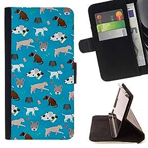 GIFT CHOICE / Billetera de cuero Estuche protector Cáscara Funda Caja de la carpeta Cubierta Caso / Wallet Case for Samsung Galaxy S6 // Cute Dogs Pattern Frenchie Dalmatian //