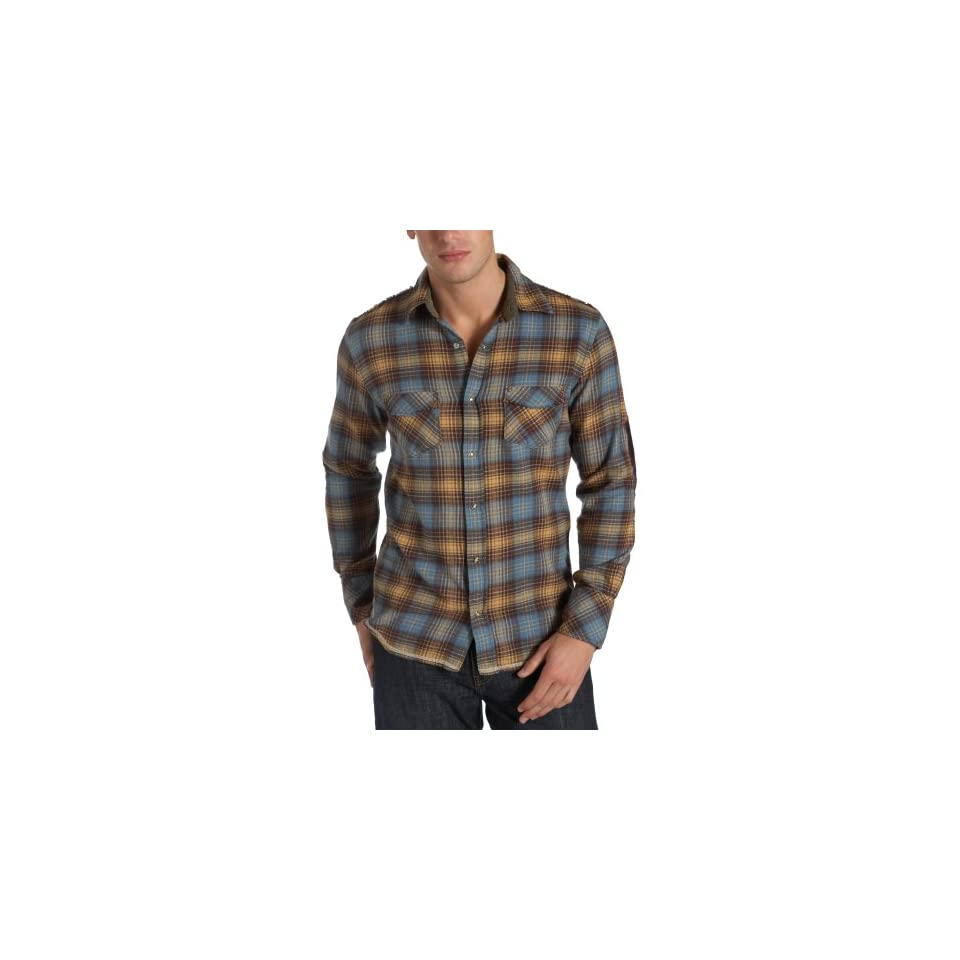 Vintage Red Mens Frayed Flannel Plaid Long Sleeve Shirt, Chino, Medium