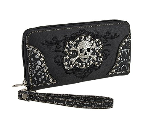 Rhinestone Skull Mock Croc Embroidered Zip Around Wallet (Embroidered Zip Pouch)