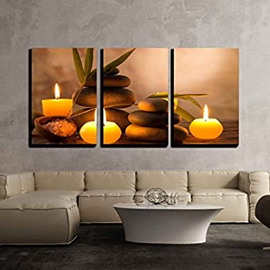 wall26 - 3 Piece Canvas Wall Art - Spa Still Life with Aromatic Candles and Zen Stones - Modern Home Decor Stretched and Framed Ready to Hang - 16 x24 x3 Panels