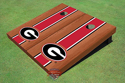 University of Georgia ''G'' Red and Blk Match Rosewood Long Stripe Cornhole Boards