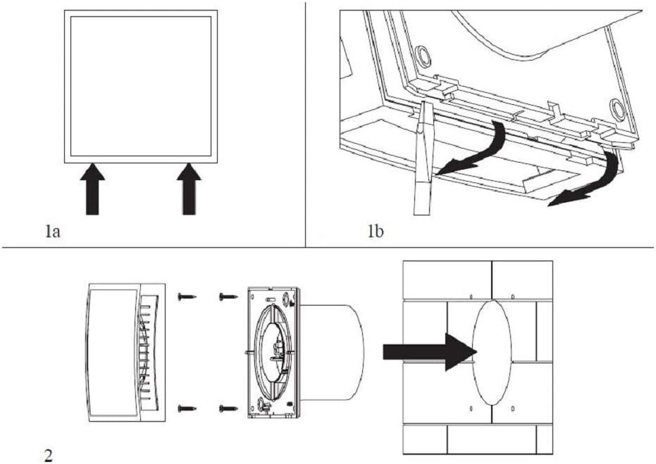 Ventilator L/üfter Wandl/üfter WC Bad K/üche leise Kleinraumventilator /Ø 125mm Badl/üfter mit Timer mit wei/ß Front