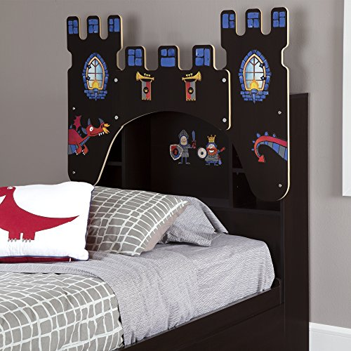 South Shore 39'' Castle Themed Vito Bookcase Headboard with Decals, Twin, Chocolate