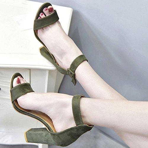 Fheaven Sandalias Para Mujer Hebilla Correa Tobillo Tacones Sandalias Block Party Vestido Zapatos Verde