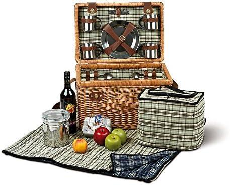 Cesta de picnic 4 personas bolsa de refrigeración picnic familia picnic bolso cubiertos