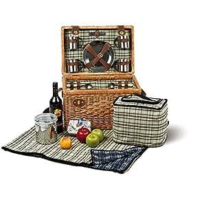 Cesta de picnic picnic Tropez maletín para 4personas con cubiertos–Manta de picnic (Platos, vasos y bolsa nevera Sacacorchos mimbre Acero Inoxidable