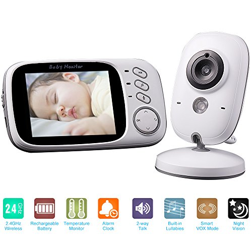 2.4GHz 3.2in Wireless Baby Monitor Plug and Play IR Camera 2-way Talk Temperature Monitor 4 Lullabies Baby Camera Home Security