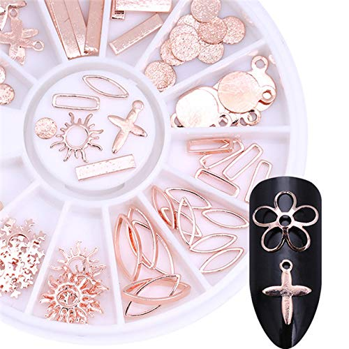 Nail Art Accessories - Nail Design Kit -1 Box Gold Rose Gold Silver Metal 3D Manicure Nail Decoration In Wheel Cross Sun Flower Snowflake Beads Leaf DIY Nail Tips - -