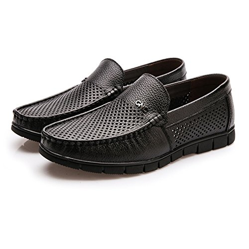 Ruiyue Men Loafers Shoes, Comfort Driving Car Soft Flats Slip On Loafers Casual Boat Shoes for Men Black