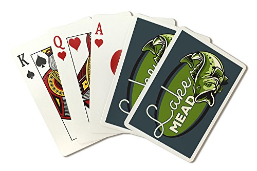 Lake Mead - Bass - Oval Badge (Playing Card Deck - 52 Card Poker Size with Jokers) by Lantern Press