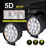 """5D LED Pods Work Light Bar, Round 5"""" 60W 6000LM Spot Off Road Super Bright Waterproof 4X4 Driving Running Lights, 2 Year Warranty"""