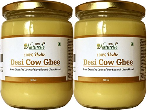 Farm Naturelle-(2 Glass Bottles X 500 Ml) 100% Pure Desi Cow Ghee From A2 Milk -  Farm Natural Produce, 7108322232277
