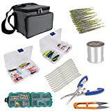 Dr.Fish Fishing Tackle Bag with Boxes and Tackles, 125pcs Grab-n-Go Full Kit