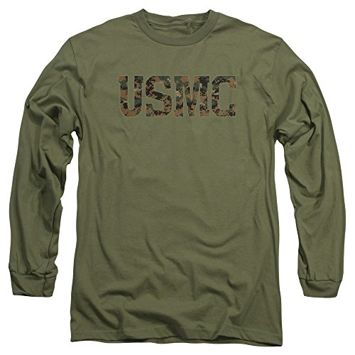 Trevco US Marine Corps USMC Camo Fill Unisex Adult Long-Sleeve T Shirt For Men and Women