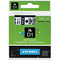 Genuine DYMO 1/4 (6mm) Black on Clear D1 Label Tape for Electronic Dymo LabelManager 500TS Label Maker