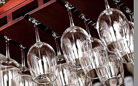 Barra de Barra Barra de Bar Estante de Vino Restaurante Hogar Copa de Vino Estante invertido Arte de Hierro Retro + Madera sólida Estantes de Vino (Color : B, Tamaño : 60 * 28cm)