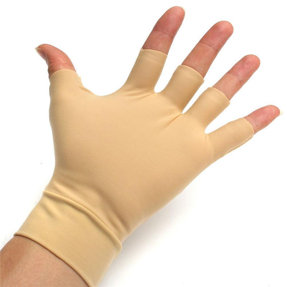 Pain Relief Fingerless Compression Gloves - Beige 1 Pair (Beige, Large/X-Large)