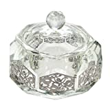 Crystal Rosh Hashanah Honey Dish and Laser Cut Plaque with Pomegranate Motif, Octagon