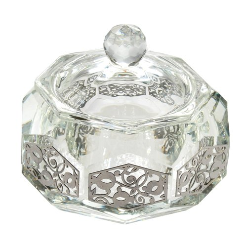- Crystal Rosh Hashanah Honey Dish and Laser Cut Plaque with Pomegranate Motif, Octagon