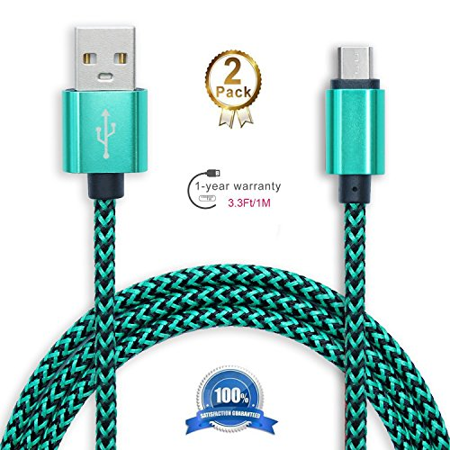 2 Pack: 3ft (1m) Micro- USB to 2.0 Male USB High Speed Cable Data Sync for Android - Premium Phone Charging Cable for Samsung, HTC, Sony, Motorola, LG, Blackberry, Nokia Green