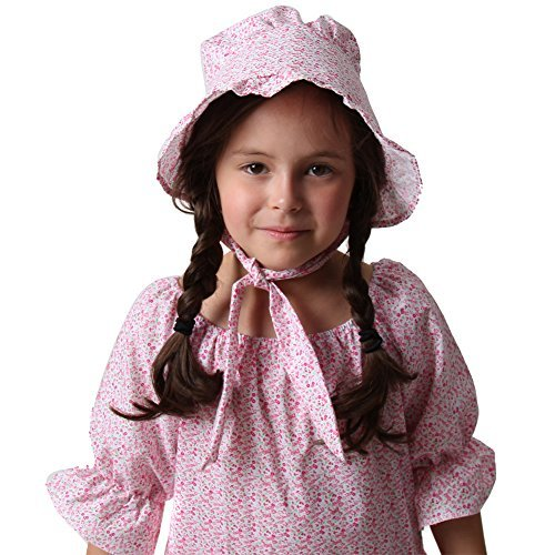 Women and Girls Pink Calico Print Pioneer Bonnet Pink Bonnet