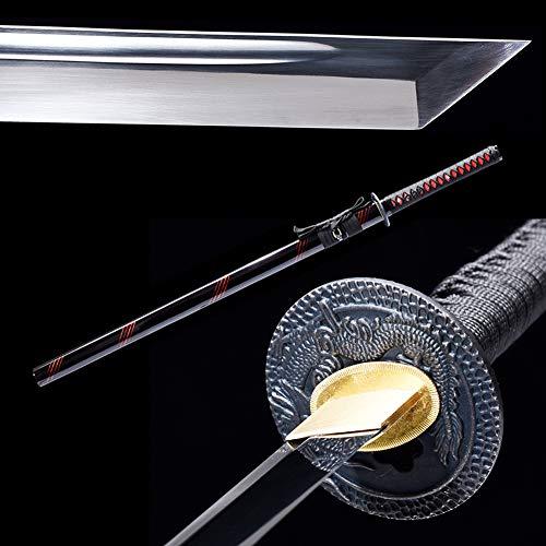 SJ SHI JIAN Dragon Tsuba Ninjato Carbon Steel Straight Blade Japanese Samurai Ninja Sword -
