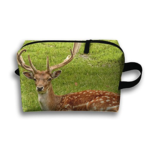 Create Magic - Deer Purse Or Coin Purse Pouch Waterproof Multi-purpose Storage Tote Tools Canvas Bag Cosmetic Makeup Bags With Zipper And Hanging (Double Shoulder Deer)
